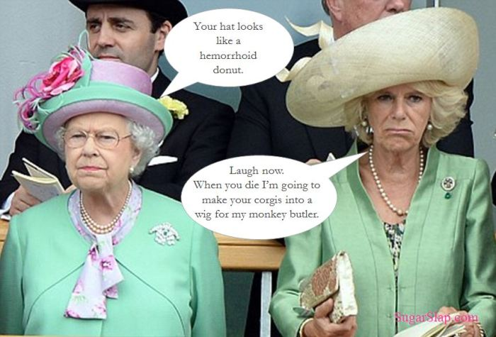 Queen and Camilla Parker Bowles hats